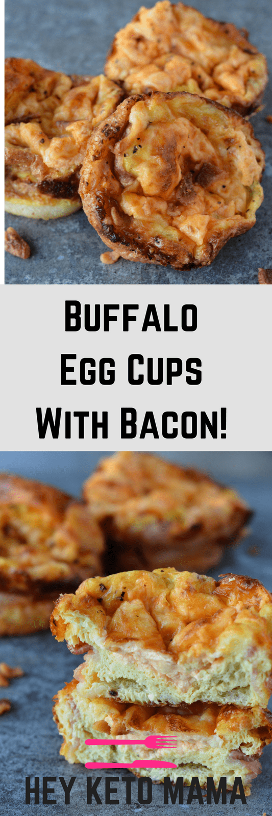 These buffalo egg cups with bacon are your ticket to a quick and easy low carb breakfast! | heyketomama.com
