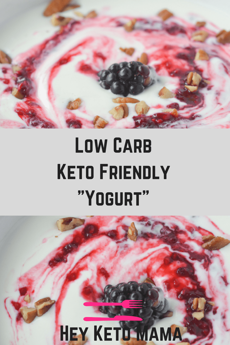 This low carb yogurt is super easy to make and actually good for you! With just 2 net carbs (for the base), it's the perfect way to brighten up your morning! | heyketomama.com