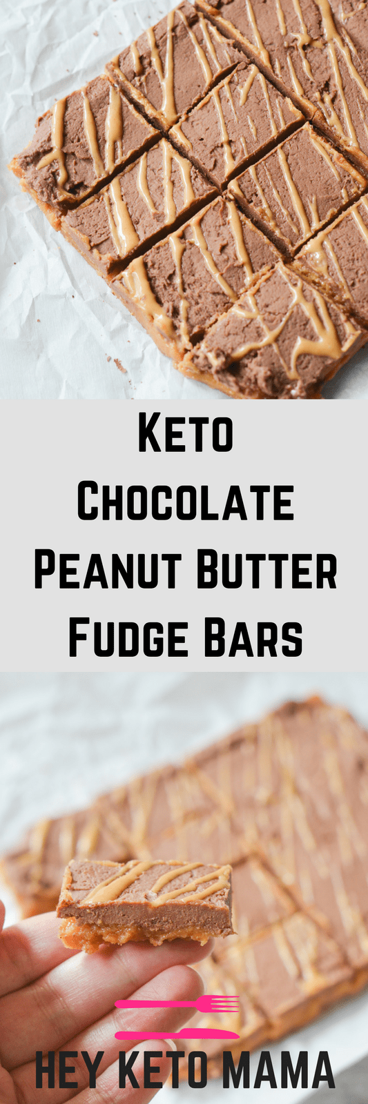 These Keto Chocolate Peanut Butter Fudge Bars are an easy to make indulgence that will satisfy your sweet tooth in a guilt free way.   heyketomama.com
