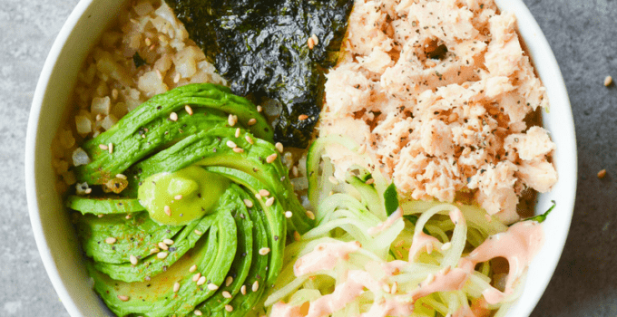 This Keto Salmon Sushi Bowl is a spicy low carb dish created to restore hope to all of the sushi lovers who have gone Keto.   heyketomama.com
