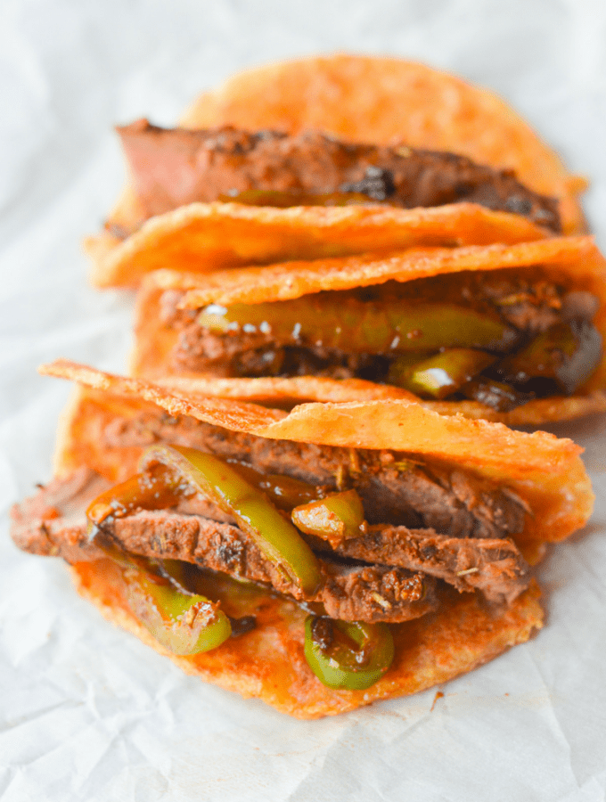 The best part about these Keto Steak Tacos on Pork Rind Tortillas is they are extremely low carb. With so few ingredients, they are sure to become a fast favorite! | heyketomama.com