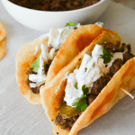 Low Carb Flatbread – Spiced Beef with Tzatziki Sauce