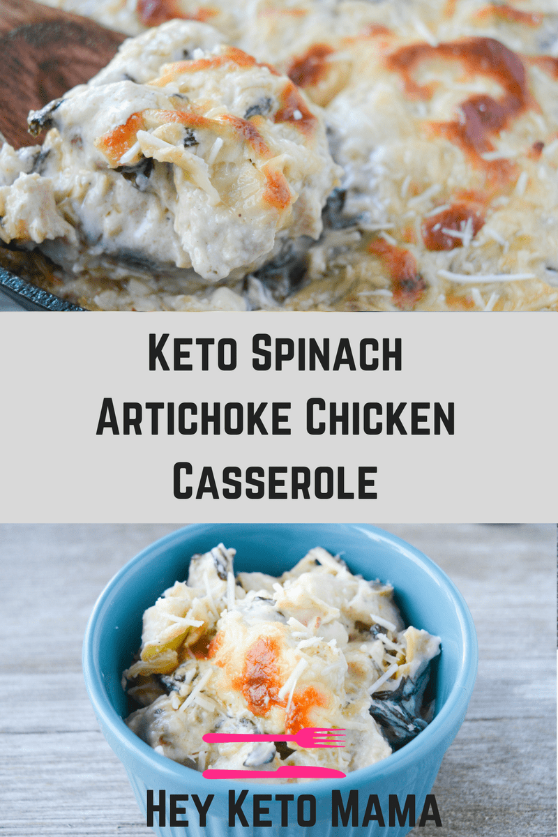 This Keto Spinach Artichoke Chicken Casserole is a rich and delightful meal your whole family will LOVE! This low carb recipe is a nice elevation of a classic appetizer. | heyketomama.com