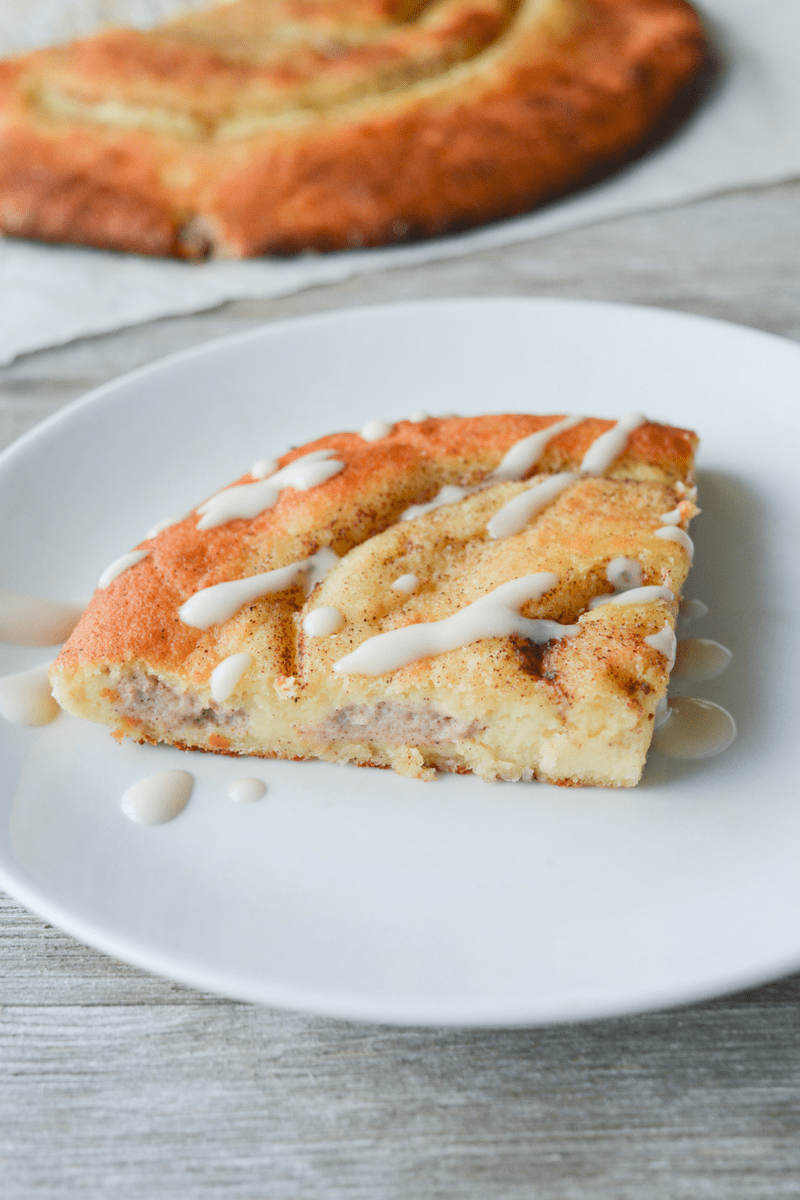 This Low Carb Stuffed Cinnamon Roll is an amazing treat that's very easy to make. It starts with the magical fathead dough base, and adds lots of yummy goodness! | heyketomama.com