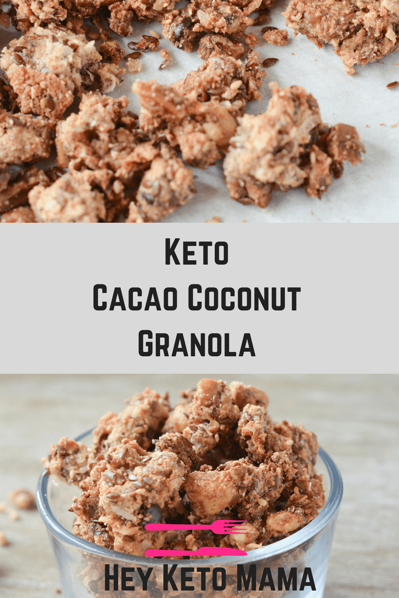 This Keto Cacao Coconut Granola is a delicious, low carb treat to satisfy your cravings for morning cereal, or just the perfect sweet and crunchy snack! | heyketomama.com