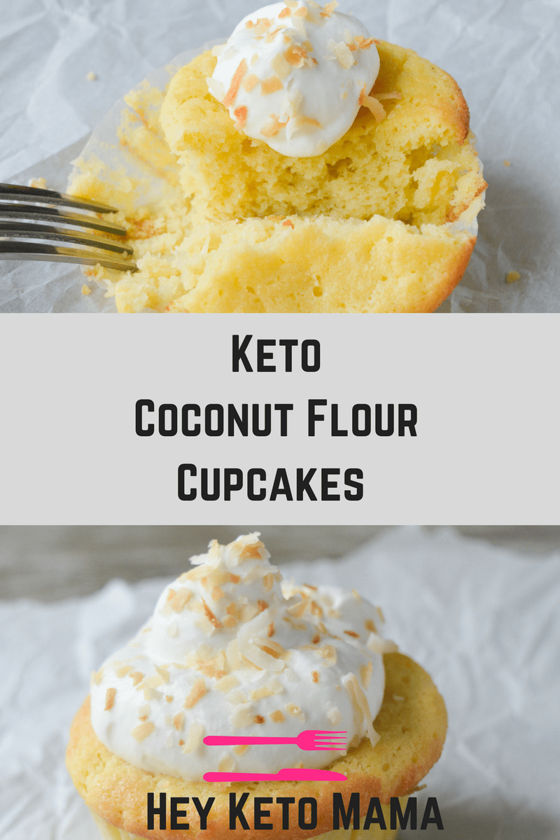 These keto coconut flour cupcakes are a moist and delicious low carb version of a childhood favorite. If you love coconut, you'll go crazy for these cupcakes! Perfect for your next grain-free, nut-free celebration! | heyketomama.com