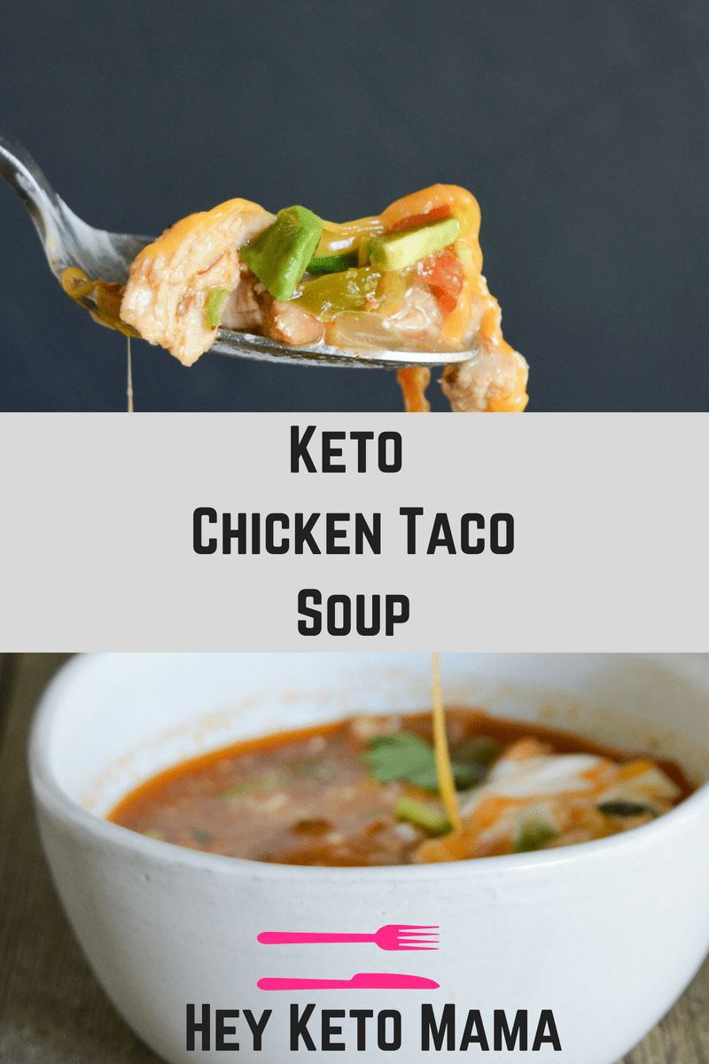 This Keto Chicken Taco Soup is your answer when the colder months ask what delicious dish you'll be warming yourself up with! It's easy, delicious, and full of low carb goodness! | heyketomama.com