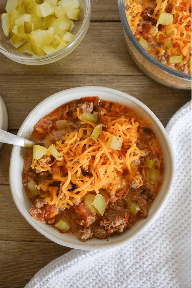 This Keto Bacon Cheeseburger Soup will be a weekly staple in your house, especially in the colder months! This burger that you slurp from a spoon is comforting, cheesy, and doesn't miss a single flavor from the classic handheld version. | heyketomama.com