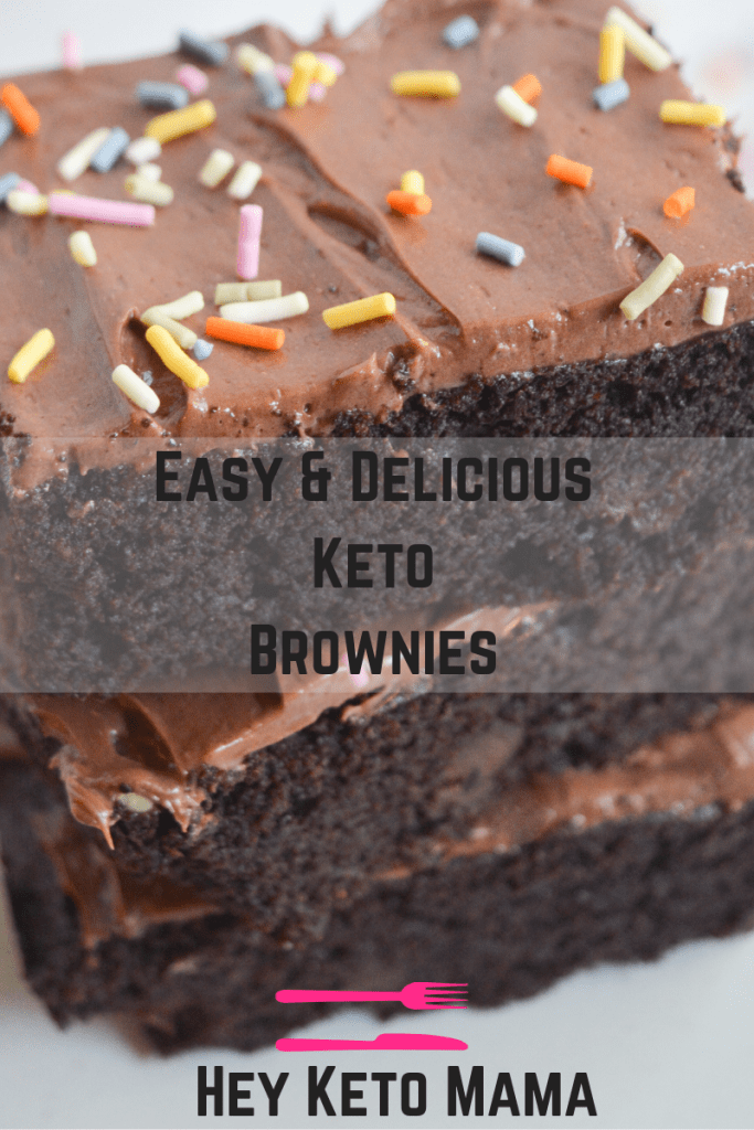 These Keto Brownies are decadent and delicious, fudgey and firm, everything a brownie should be! But thing these low carb brownies are is guilt free! You won't want to share them...and you won't have to!  heyketomama.com