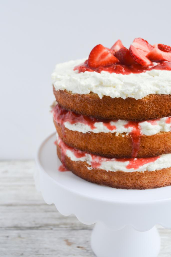 closeup of keto strawberry shortcake cake