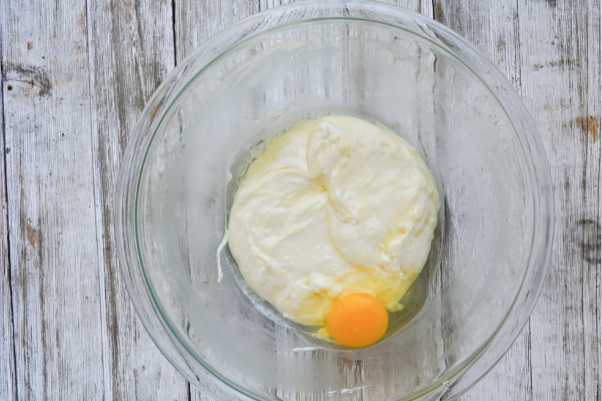 step two of making keto friendly fathead dough: adding the egg