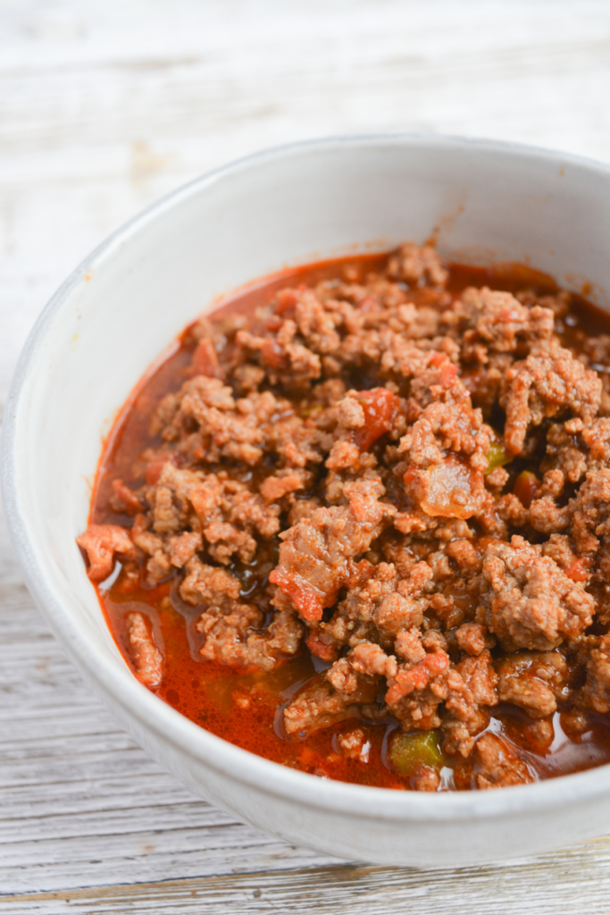 close up of a bowl of keto chili with no beans