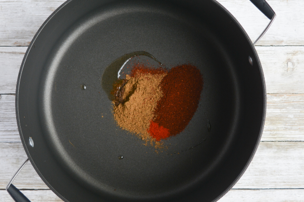 step three for cooking low carb chili: toasting the spices