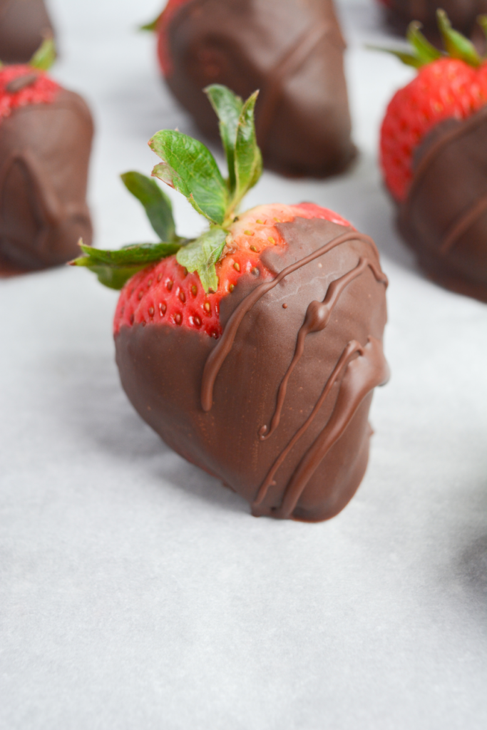 close up of keto chocolate covered strawberry