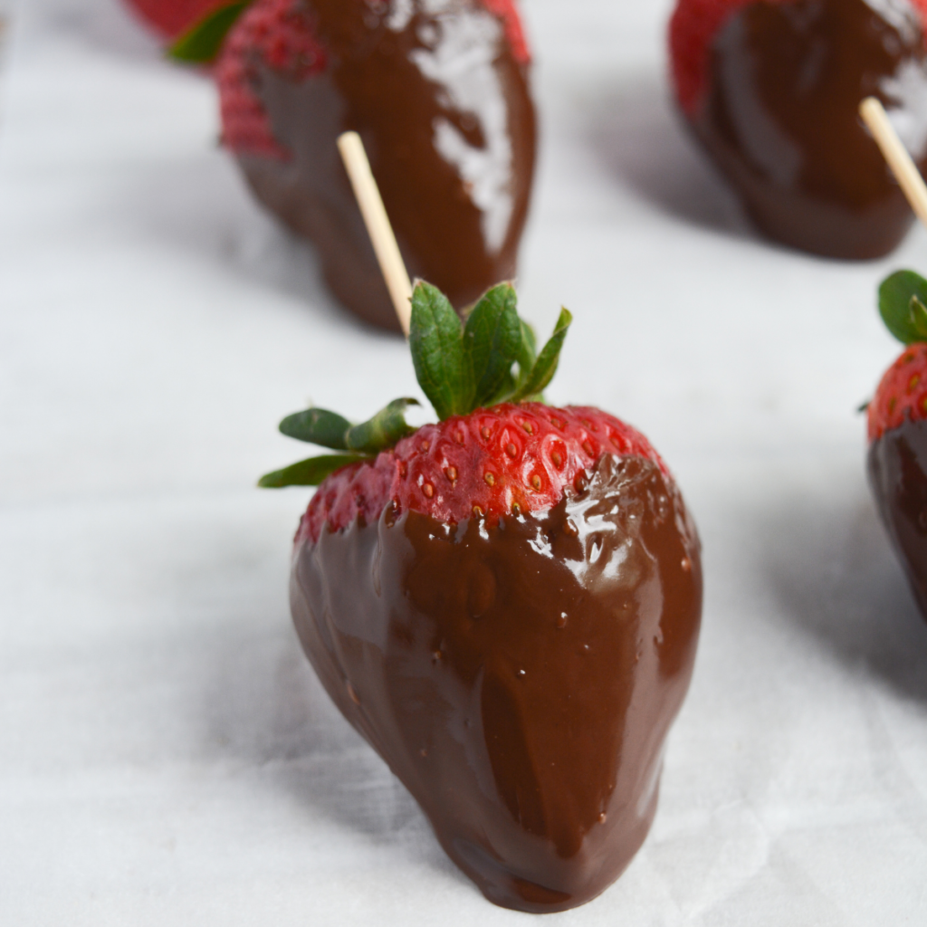 keto chocolate covered strawberries step four: set the strawberries aside to allow them to set